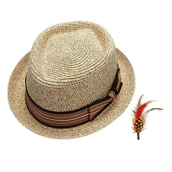 c0b259b37f16e Men s Natural Color Straw Fedora Hat